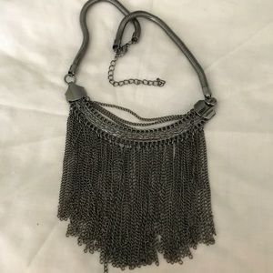 Funky chain fringe necklace